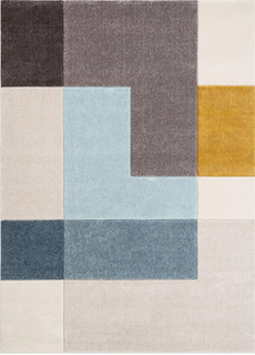 A midcentury rug is displayed, showing how modern elements play into the design of the rug.