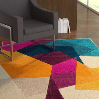 A mid-century style rug that shows off the modern elements in this rug style.