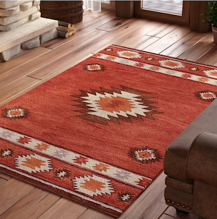 A south-west style rug showing in a farmhouse style home.