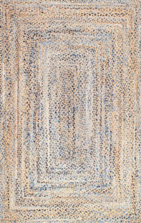 A farmhouse style rug, showing a rough texture with no specific design other than the mending of three colors: brown, beige and blue.