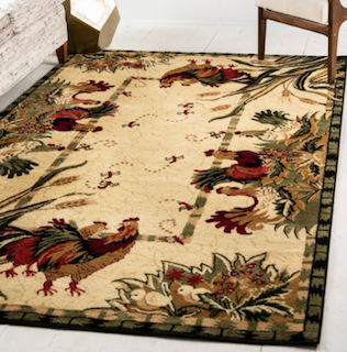 A farmhouse style rug, displaying roosters and green, leafy bushes and tall grass on the corners.