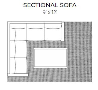 sectional sofa with 9 x 12 area rug for living room