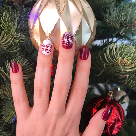 Beautiful Russian manicure done with gel polishes using Russian drill bits for the holidays