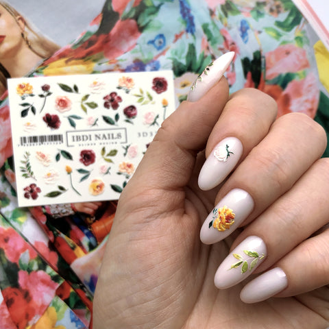 3D flower nail decals