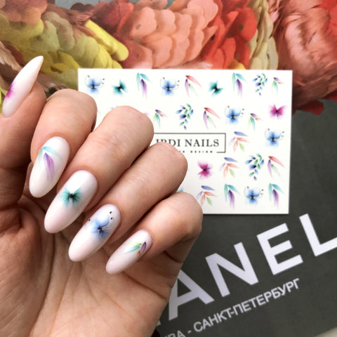 Flower nail decals used to create a beautiful summer look