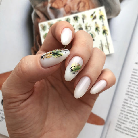 Gold foil nail decals for summer art