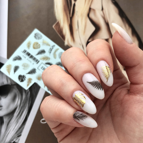 Gold foil leaf nail decals
