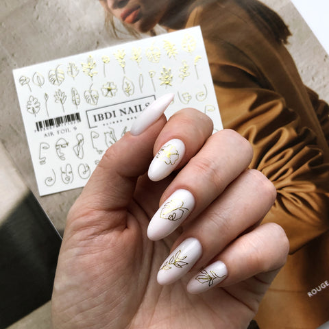 Gold foil waterslide nail decals