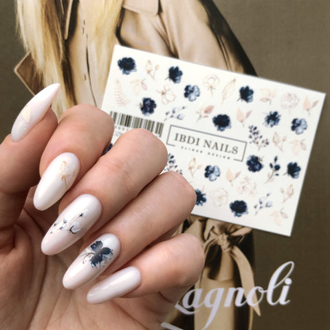 Blue flowers nail decals