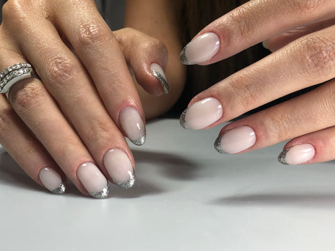 Russian machine manicure using silver leaf gel polish