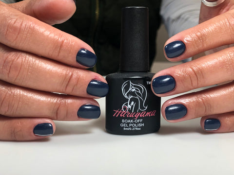 Russian dry machine manicure with Haruyama blue gel nail polish