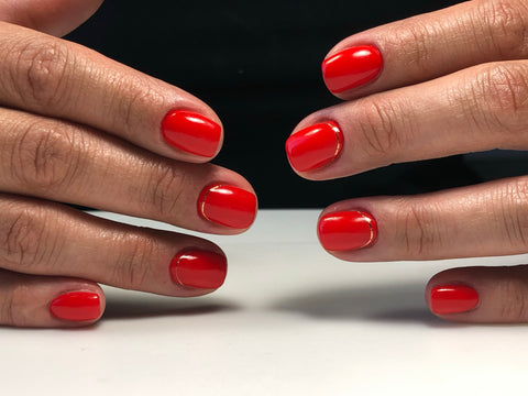 Russian manicure with Red gel nail polish