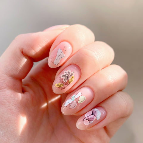 Abstract waterslide nail decals
