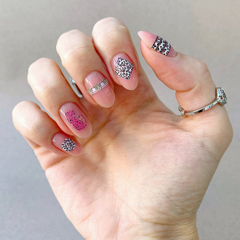 Leopard print nail decals for Russian manicures