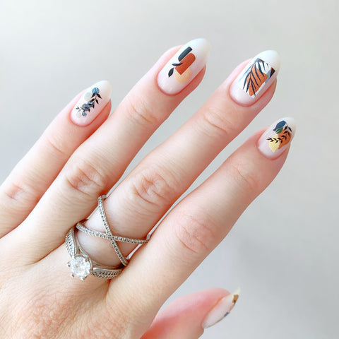 Abstract geometric nail decals