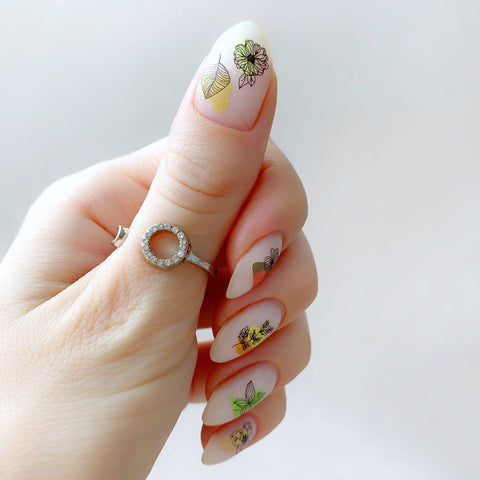 Flower watercolor nail decals