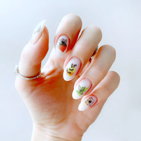 Beautiful watercolor flower nail decals