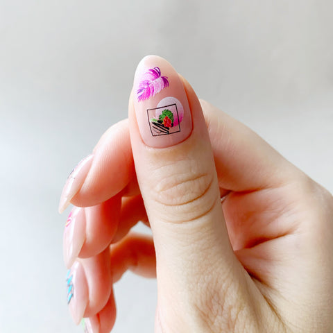 Abstract flower nail decals
