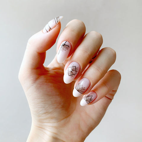 Geometric flower nail decals
