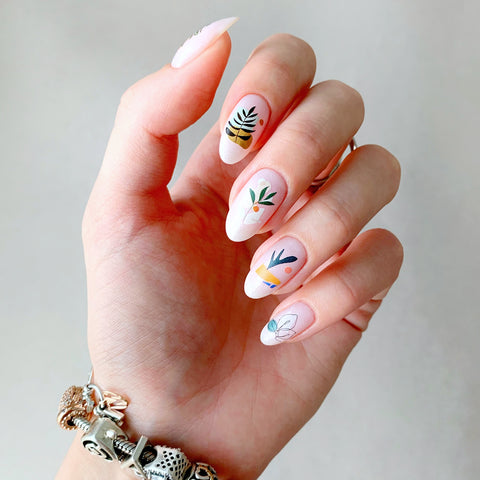 Abstract leaf nail decals