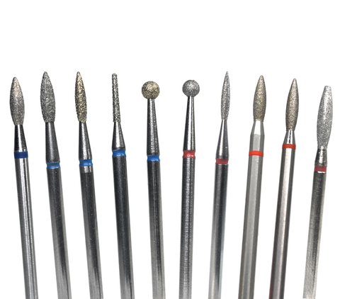 10 nail drill bits ranging from ball to flame