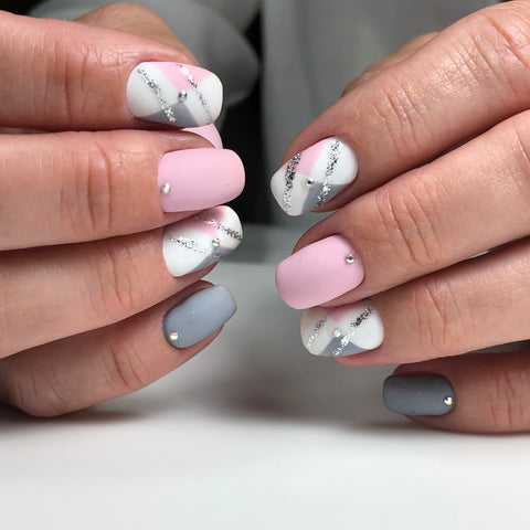 Beautiful marbled matte gel nail polish manicure