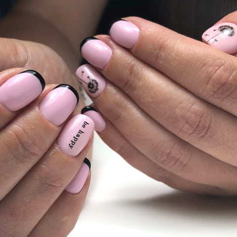 Beautiful pink and black french manicure with IBDI nail decals and sliders