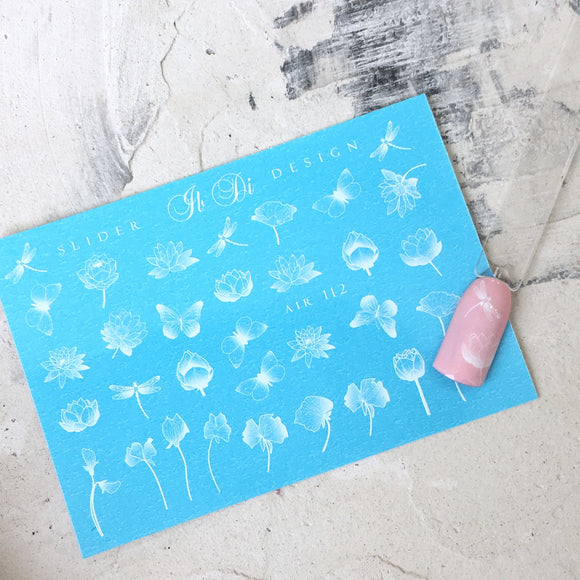 Cool and unique butterfly and flower nail decals and sliders