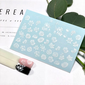 Beautiful white flower and leaf nail decals and sliders for manicures and pedicures