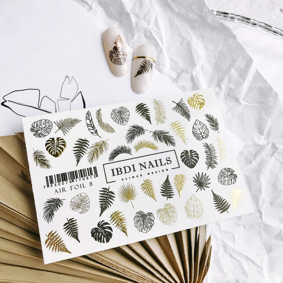 IBDI Leaf and feather nail decals #air foil 8