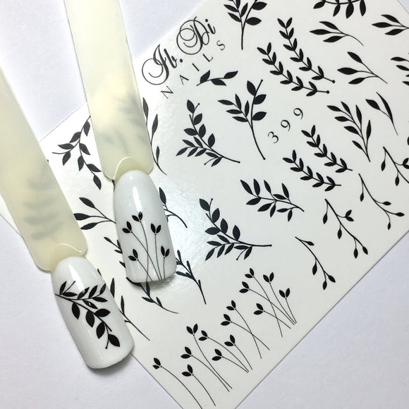 IBDI B&W Leaf nail decals / sliders