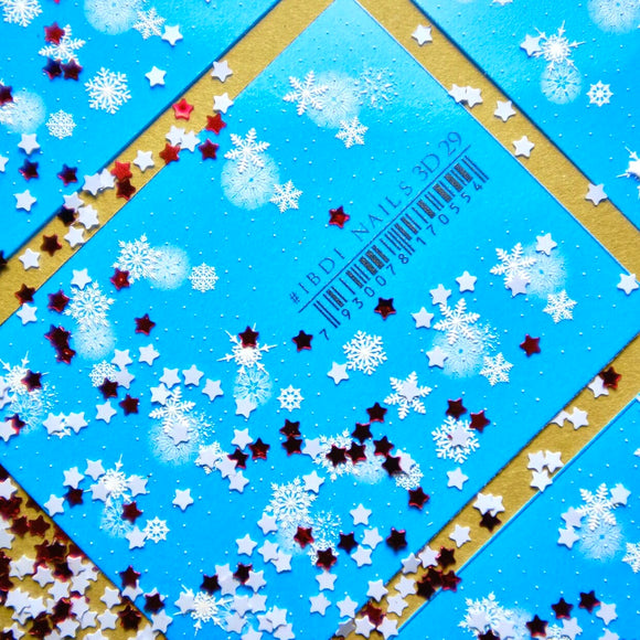 3D winter snowflake nail decals and sliders