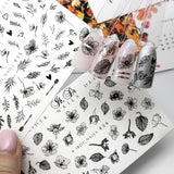 Flower nail art decal and slider designs for manicures and pedicures