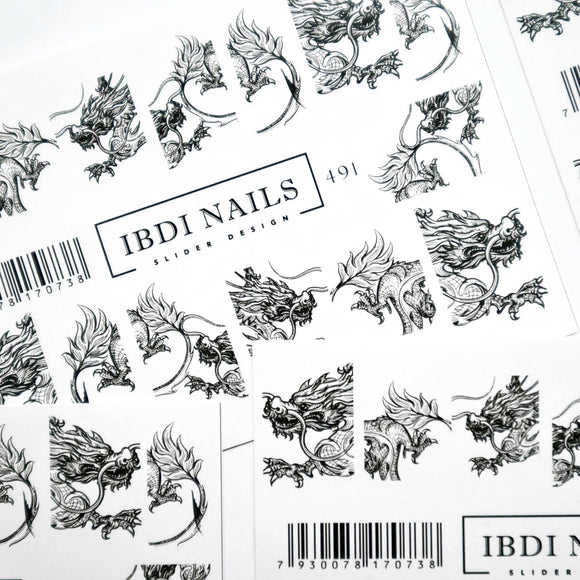 Dragon nail decals and sliders for manicures and pedicures