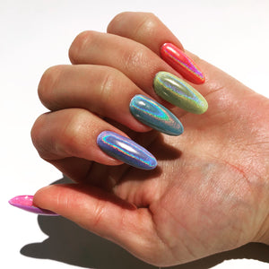 Beautiful holographic nail powder for manicures and pedicures. Use with any bright vibrant color/.