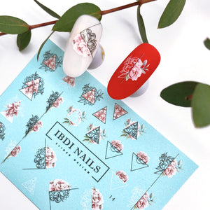 Stylish geometric with flowers nail decals for manicures and pedicures