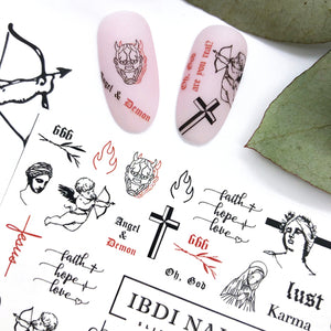Angels and demons nail decals and sliders for manicures and pedicures