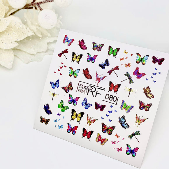 Slider.RF Butterfly waterslide nail decals for a manicure