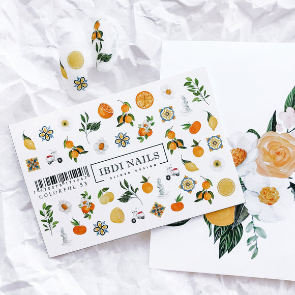 Beautiful citrus nail decals