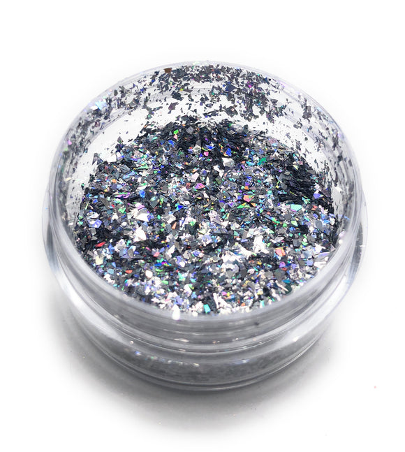 Manicure and pedicure silver glitter for nail art