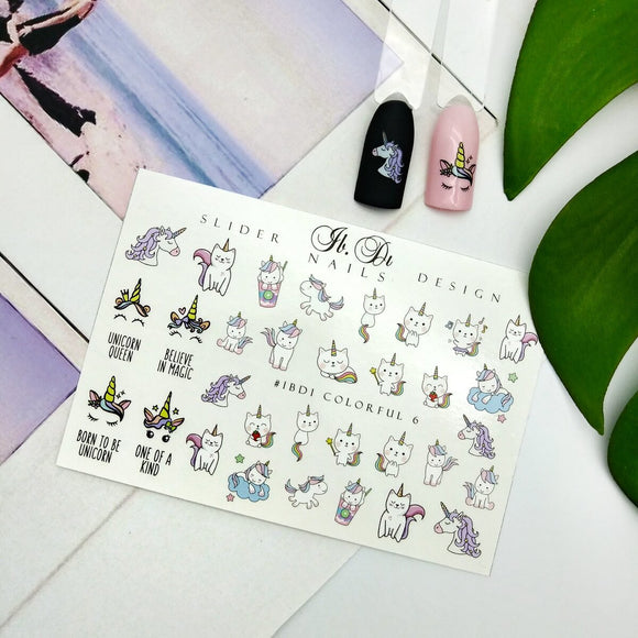 Nail decal slider with unicorns perfect for making a manicure or pedicure fun!