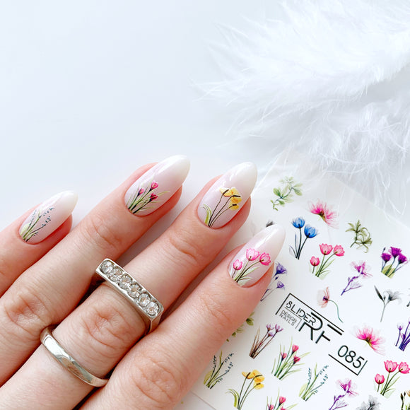 Slider.RF Flower waterslide nail decals for a manicure or pedicure