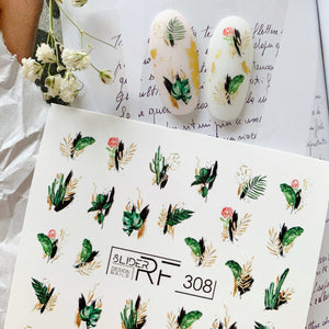 Slider.RF Leaf nail decals for spring nail art