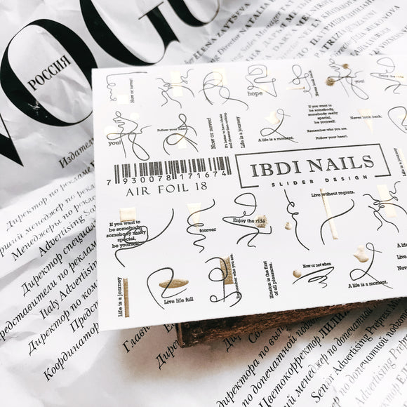 Beautiful IBDI nail decals AIR FOIL 18. With word designs for nail art