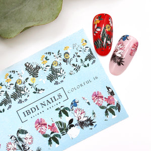 Beautiful and amazing summer flower nail decals. Used in manicures and pedicures to easily create nail art.