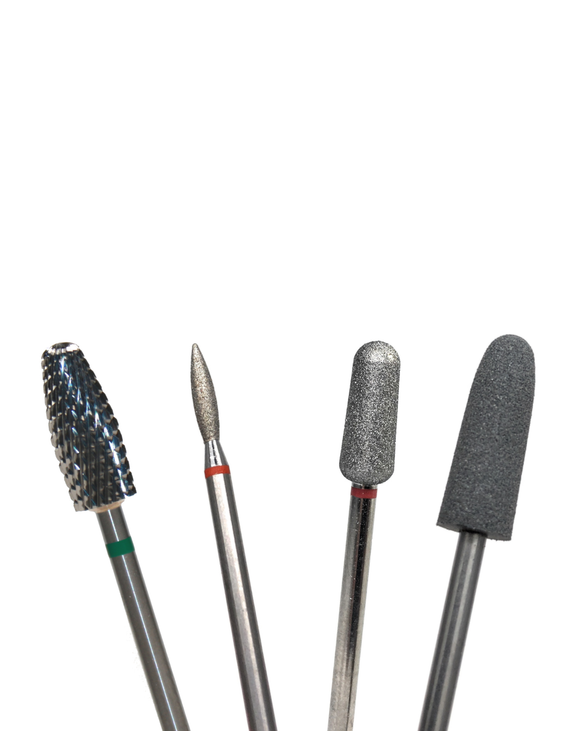 Carbide, diamond bit and buffer nail drill bits for manicures and pedicures