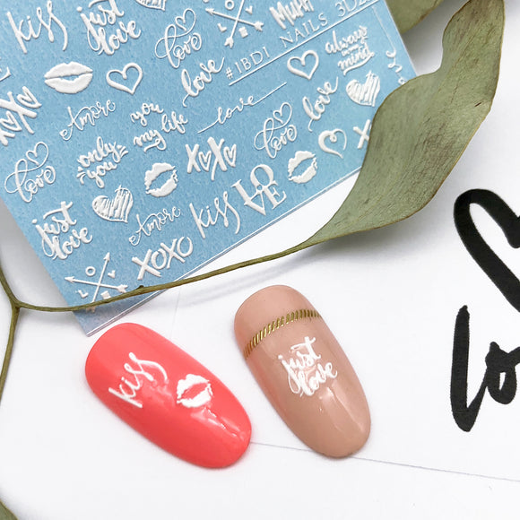 Valentines day love nail decals and sliders for manicure