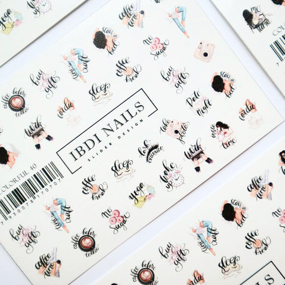 Word nail decals and sliders for manicures and pedicures