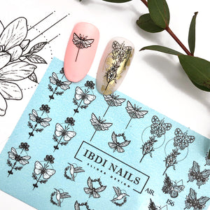 Geometric butterfly nail decals and sliders for manicures and pedicures