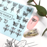 Cool and unique butterfly nail decal and slider for manicure and pedicure